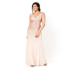 Jessica Wright for Sistaglam - Gold 'Orlinda' v-neck all over sequin maxi dress