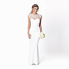 Sistaglam - White 'Kadia' jewelled neckline bodycon wedding dress