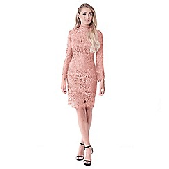 Sistaglam - Nude 'Jamilla' lace high neck long sleeve bodycon dress