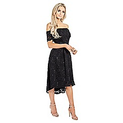 Sistaglam - Black 'Lucie' sequin lace off the shoulder shift dress