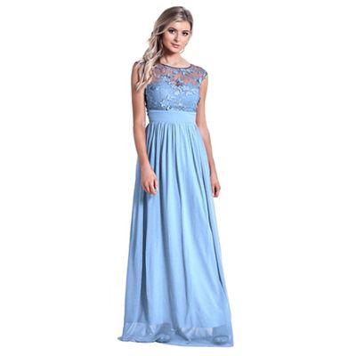 420b70ab37 Sistaglam - Powder blue  Beverley  lace bridesmaid maxi dress