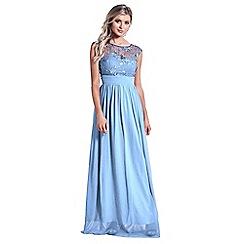 Sistaglam - Powder blue 'Beverley' lace bridesmaid maxi dress