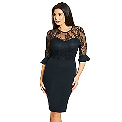 Jessica Wright for Sistaglam - Black 'Fannie' black midi lace 3/4 sleeves bodycon dress