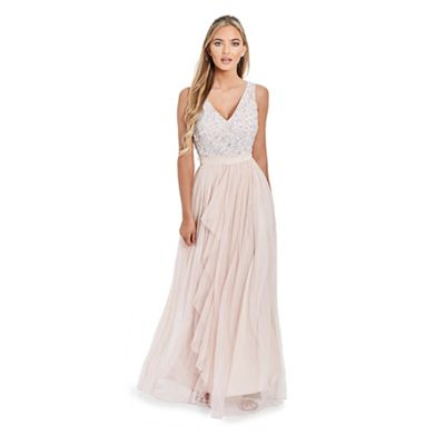 Sistaglam   Cream 'yasmin' Sequin Waist Detailed Bandeau Fish Tail Wedding Dress by Sistaglam