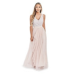 Sistaglam - Cream 'Yasmin' sequin waist detailed bandeau fish tail wedding dress