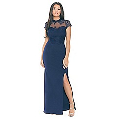 Jessica Wright for Sistaglam - Navy 'Amie' lace high neck sweetheart neckline bodycon maxi dress