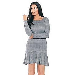 Jessica Wright for Sistaglam - Grey 'Sylla' long sleeves with frilled hem midi check dress