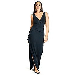 Jessica Wright for Sistaglam - Black 'Amiya' wrap neckline with ruched waist and side frill maxi dress