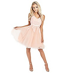 Sistaglam - Blush 'Tenny' mesh embroidered lace skater prom dress