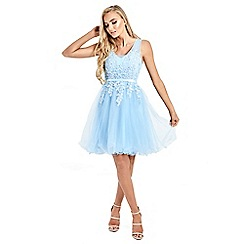 Sistaglam - Baby Blue 'Lovie'  mesh embroidered lace skater prom dress