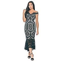 Sistaglam Love Jessica - Black 'Cianna' with contrast lining and fishtail frill hem bardot lace dress