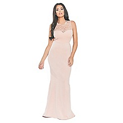 Sistaglam Love Jessica - Pink/nude 'Lorani' maxi insert sweetheart neckline with back keyhole and bow dress