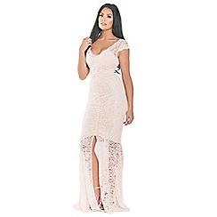 Sistaglam Love Jessica - Blush 'Kaylie' lace with frilled dress and frill hem maxi dress