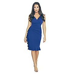 Jessica Wright for Sistaglam - Navy 'Tamar' v neck wrap ruched side hem frill midi dress