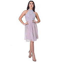 Sistaglam - Lilac 'Selianna' sequin high neck dress