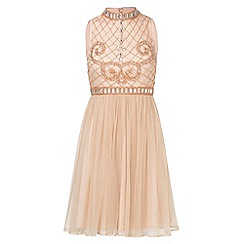 Sistaglam - Nude 'Debbianna' embroided high neck midi styled dress