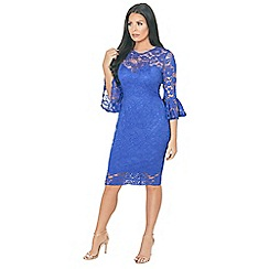 Jessica Wright for Sistaglam - Cobalt 'Luisa' cobalt Bell Sleeve Lace Bodycon Dress