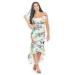 Sistaglam Love Jessica - Floral Print 'Danya' bardot dress with frilled hem