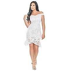 Sistaglam Love Jessica - Francie white cornflower sequin lace bardot dress with assymetric frill hem