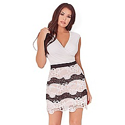 Sistaglam Love Jessica - Monochrome 'Edith' crochet mixed lace short skirt