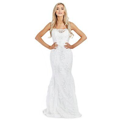 Sistaglam   White 'olivia' Sequin Embellished Off The Shoulder Maxi Dress by Sistaglam