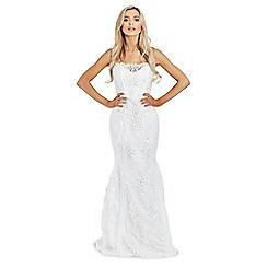 Sistaglam - White 'Olivia' sequin embellished off the shoulder maxi dress