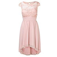 Sistaglam - Pink 'Bevianna' embellished lace midi bridesmaid dress
