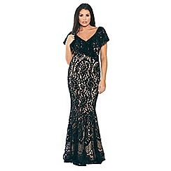Sistaglam Love Jessica - Black and nude 'Symona' off the shoulder frilled all over lace maxi dress