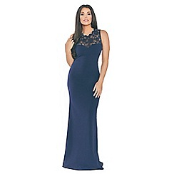 Sistaglam Love Jessica - Navy 'Lorani' maxi insert sweetheart neckline with back keyhole and bow dress