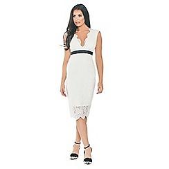 Sistaglam Love Jessica - Cream 'Aaliyah' all over lace bodycon midi dress
