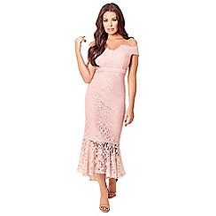 Sistaglam Love Jessica - Blush 'Cianna' bardot all over lace high low dress