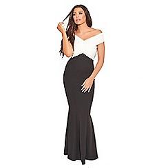 Sistaglam Love Jessica - Monochrome 'Cassila' wrap bardot maxi dress