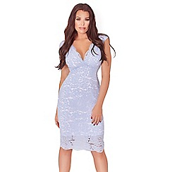 Sistaglam Love Jessica - Cornflower blue aaliyah  all over lace bodycon midi dress