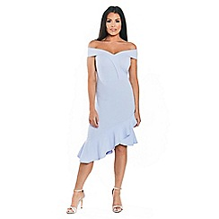 Sistaglam Love Jessica - Pale blue 'rona' bodycon with assymetric frill hem dress