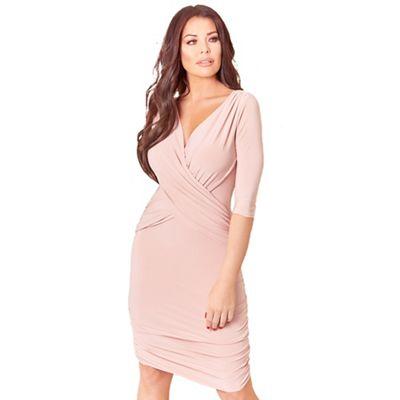 Sistaglam Love Jessica   Pink Melinda Wrap Bodycon 3/4 Sleeve Side Ruching Dress by Sistaglam Love Jessica