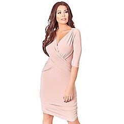 Sistaglam Love Jessica - Pink Melinda wrap bodycon 3/4 sleeve side ruching dress