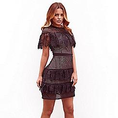 Sistaglam - Black 'Leanna' frill mesh lace short sleeve mini dress