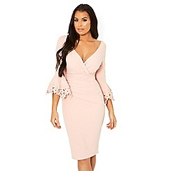 Sistaglam Love Jessica - Nude 'Trixey' midi bodycon trim sleeve dress