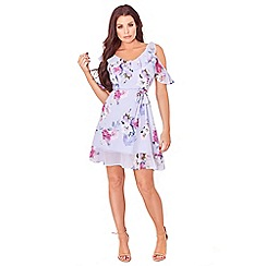 Sistaglam Love Jessica - Multi-coloured 'Isadora' v-neck cold shoulder frill floral dress