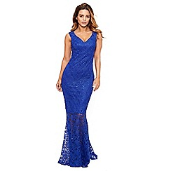 Sistaglam - Cobalt 'lulia' bardot sequin lace maxi dress with fish tail