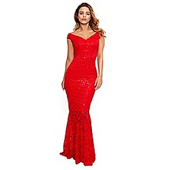 Sistaglam - Red 'lulia' sequin lace maxi dress with fish tail
