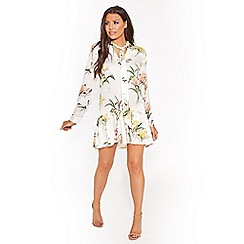 Sistaglam Love Jessica - Multi white 'Claryce' floral print frill with bow tie shift dress