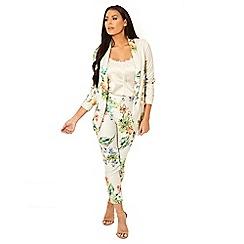 Sistaglam Love Jessica - Cream 'Andie' multi tailored floral print blazer