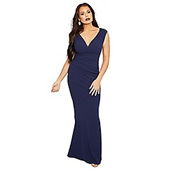 Sistaglam Love Jessica - Navy 'Kayleen' maxi v-neck dress with rouching