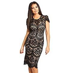 ba81200b844 Sistaglam Love Jessica - Black  Siya  nude lace midi bodycon cap sleeve  dress