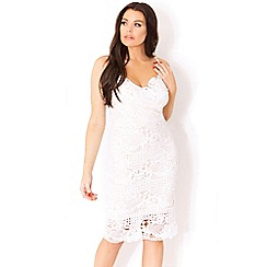 Sistaglam Love Jessica - White 'havana' strappy lace bodycon dress