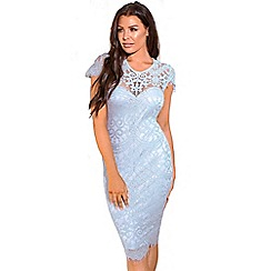 Jessica Wright for Sistaglam - Pale blue 'Siya' lace midi bodycon cap sleeve scallop hem