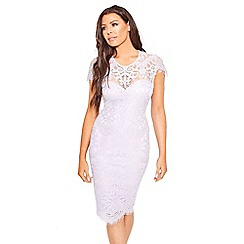 Sistaglam - Lilac purple 'Siya' midi bodycon dress with cap sleeve scallop hem