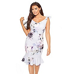 Sistaglam Love Jessica - Cornflower 'Alda'  floral print bodycon frilled hem midi dress