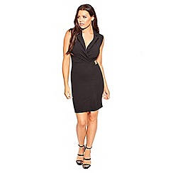Sistaglam Love Jessica - Black 'Berta' sleeveless tuxedo bodycon dress